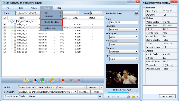ImTOO DVD to Pocket PC Converter Guide - Custom output size