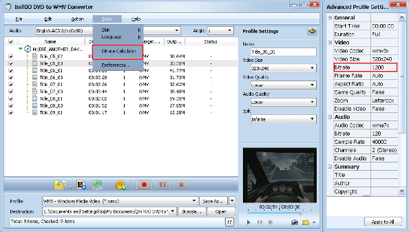 ImTOO DVD to WMV Converter Guide - Custom output size