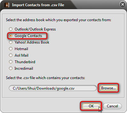 Import gmail csv or vcard to iPhone