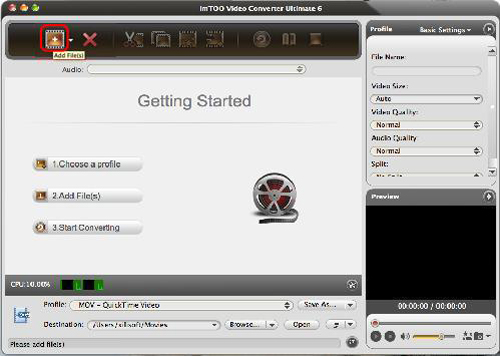 Video Converter Ultimate for Mac - Load WMV files