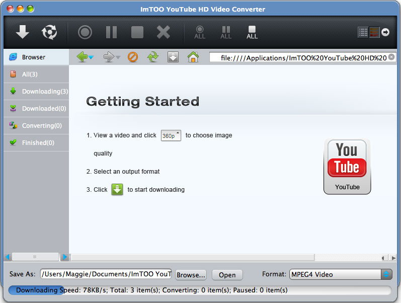 ImTOO YouTube HD Video Converter for Mac