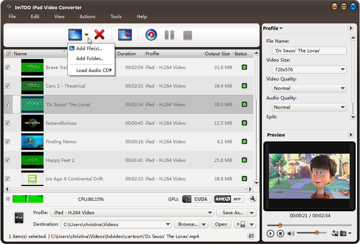 ImTOO iPad Video Converter Screenshot
